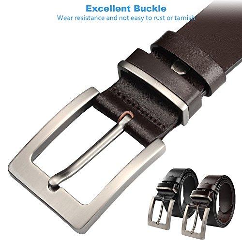 SOUMIT Herren Gürtel | Edel Luxus Leder Beiläufige Business Dornschließe Gürtel, Metall Retro Breite Jeansgürtel mit Geschenkbox (Schwarz) Braun