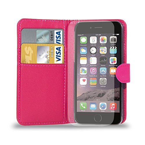 Apple iPhone 7 - Ledertasche Flip Case Cover Tasche + Retractable Stylus Pen + Touch Screen Protector & Poliertuch ( Schwarz ) Hot Pink