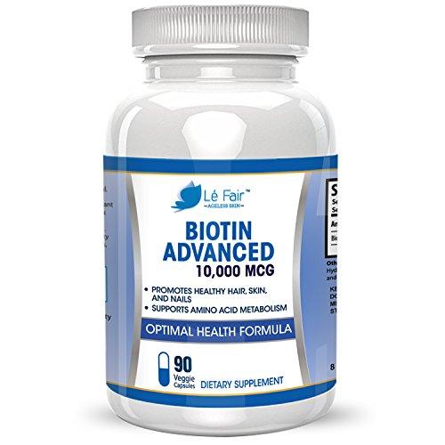 Biotine capsule supplément végétal – 10 000 mg de Biotine Haute Puissance par Capsule Molle – Favorise la croissance des cheveux, le teint, la disparition de l'acné, et renforce les ongles et les cils – Approvisionnement de 90 jours