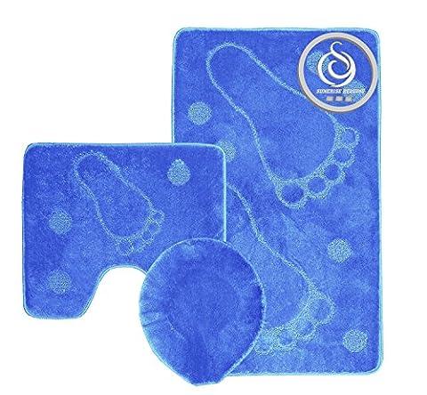 Neuf 3pièces Bain de pieds et colonne Mat | lavable Mat | WC Mat, bleu clair, 3 PC Small Bath Matt