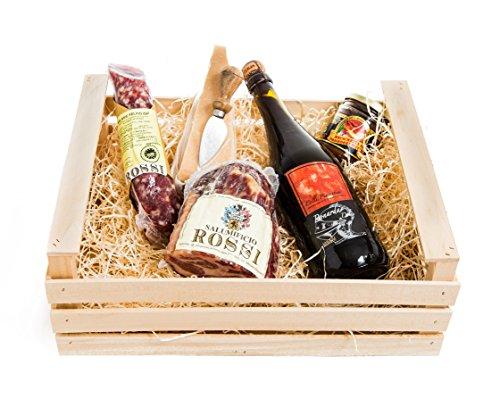 Cesta de Regalo de Navidad by YesEatIs – Parma Gourmet Clásico - Caja de madera con bife de Parma y Parmigiano - 5 especialidades gastronómicas