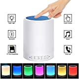 Renyke Table Night Light Bluetooth Speakers Portable Wireless Speaker Smart Touch Sensor Bedside Lamps RGB Color Changing With Metal Handle