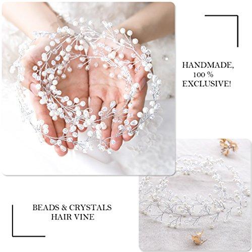 Catena testa Aukmla per sposa -Accessori matrimonio con strass di cristallo per donne e ragazze (colore argento) - 6