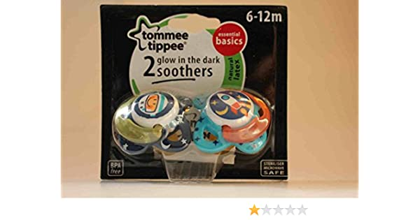 Tommee Tippee Essentials Glow in The Dark Soothers  6-12m 2Pk