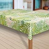 Wachstuch-Tischdecke Abwaschbar Garten-Tischdecke Wachstischdecke PVC Plastik-Tischdecken Outdoor Eckig Meterware Wetterfest Wasserabweisend Abwischbar G11, Größe:80x80 cm, Muster:Blumen Bambus grün