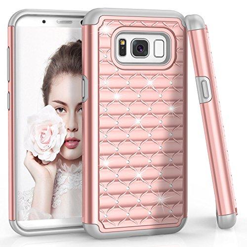 Bling Bling Strass Case (Samung Galaxy S8 Hülle, Han Lucky Star Hardcase Strass Glitzer Schutzhülle Bling Kristall Strass Diamant Handyhülle TPU Hybrid Case für Samsung Galaxy S8 (5.8 Zoll, Rosa Gold))