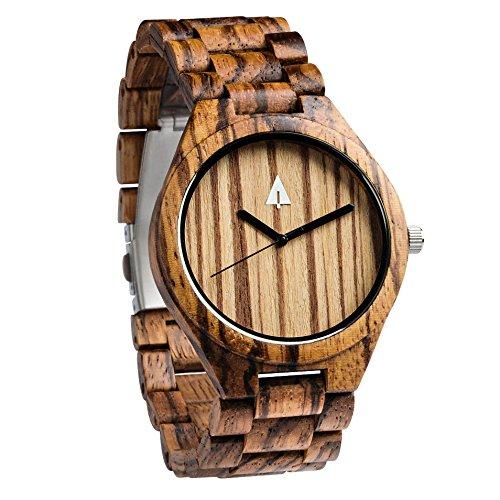 treehut Herren Armbanduhr Zebrano Holz mit Allen Holz Band Quarz Analog mit Uhrwerk und Edelstahl Tri-Fold Schließe mit Druckknöpfen, Freund Geschenk, 4,3cm