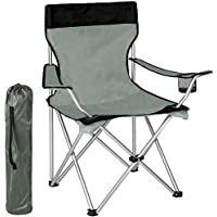BAKAJI Silla de camping con bolsa Camping Sea Beach Chair Pesca al aire libre de acero inoxidable y poliéster con compartimento de puerta Bebidas y teléfonos inteligentes (gris)
