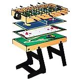 Lcyy-game Deluxe 4 in 1 Tavolo da Gioco Top Multi-Funzione Steady Table Tennis da Tavolo (Ping Pong), Glide Hockey, Calcio Calcetto, Set Piscina per Bambini e Bambini