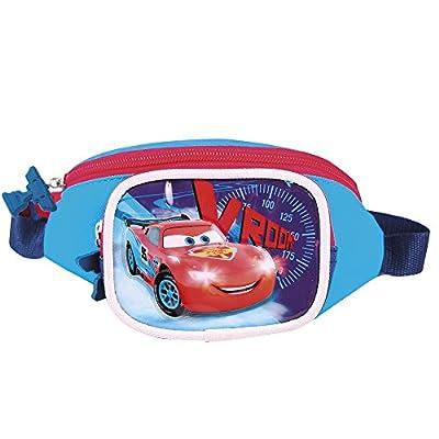 Sac à Banane Petit Garçon Disney Cars Quatre Roues - Pochette Ceinture Flash McQueen - Sac de Hanche pour l'école avec bandoulière réglable - Bleu Rouge - 11x21x8 - Perletti