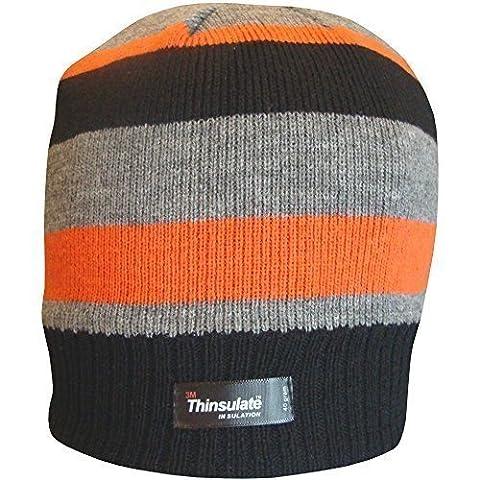 Boys Striped Design Thermal Knit Fleece Lined Thinsulate Winter Beanie Hat (Black Grey & Orange)