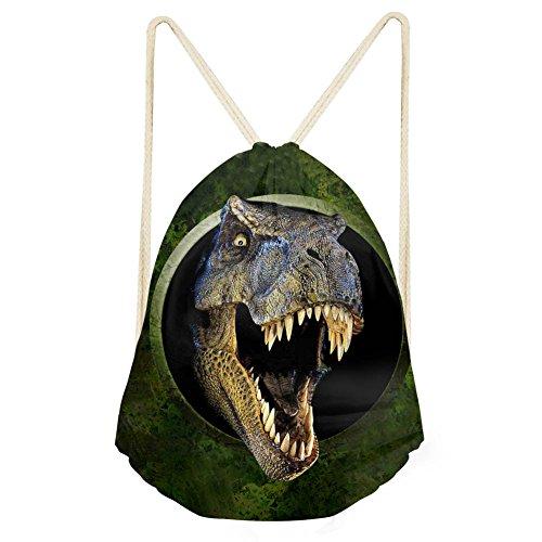 Morbuy Bolsa de Cuerda, Impresión 3D Mochila con cordón Mochila Cuerda Bolsas de Gimnasia Escuela Casual para Unisex Deportes al Aire Libre Viajes Playa Natación Gimnasio (41 * 34cm, Dinosaurio B)