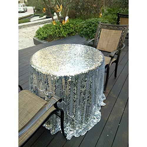ischdecke,Funkelnde Schimmern Tischtuch tischwäsche,Overlay für das jäten Partei Weihnachten,Runden Rechteck-Silber Durchmesser228cm ()