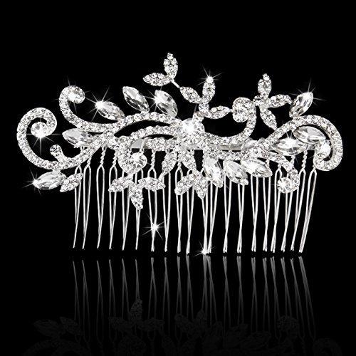 Debout Accessoires cheveux mariage mariée demoiselle d'honneur Strass Peigne à cheveux Décoration Fleur Feuille