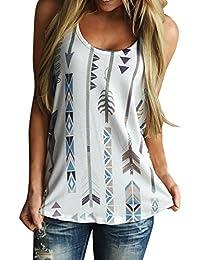Mujer Chaleco de mangas sin mangas de Impresión de la pluma Blusa camiseta Tops