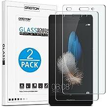 P8 Lite Cristal Templado [2 Unidades] OMOTON Huawei P8 Lite Protector de Pantallacon [9H Dureza][3D Touch Compatibles][Garantía de por Vida]