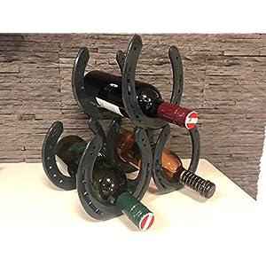 Hufeisen Weinregal, Flaschenhalter, ideales Geschenk für Pferdeliebhaber, Anthrazit