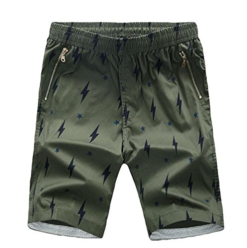 CHENGYANG Uomo Estivi Casual Pantaloni Corti Camuffaggio Pantaloncini Bermuda Running Shorts Scuro Verde