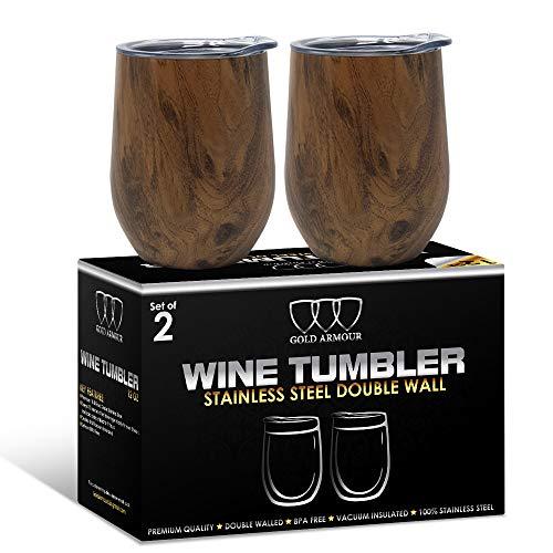 2 Stück Edelstahl Stiellose Weingläser mit Deckel, 340 ml, doppelwandig, vakuumisoliert, Reisebecher - schweißfrei, unzerbrechlich, BPA-frei Pattern: Wood Grain