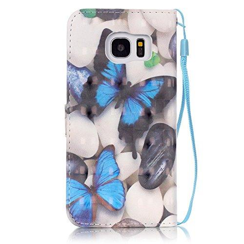 Huawei p9lite, [con protezione schermo gratuita], nanxi Colorful Nizza Pattern PU portafoglio in pelle con porta carte di credito slot Smart Standing stile ultra sottile custodia protettiva cover skin Blue butterfly