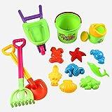 Pawaca 14 Stück Kinder Strand Sand Spielzeug Set mit Einkaufswagen, Schaufel, Eimer, Rechen, Gießkanne, Meerestiere Form, Wiederverwendbare Netztasche, Strand Spielzeug für 3-6 Jahre Alte Kinder