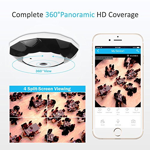 SANNCE-Cmara-de-vigilancia-inalmbrico-960P-con-vista-panormica-de-360H264-Audio-de-dos-vas-LEDs-infrarrojos-y-visin-nocturna-soporta-64GB-en-tarjeta-SD-montar-en-techo-o-pared-13MP