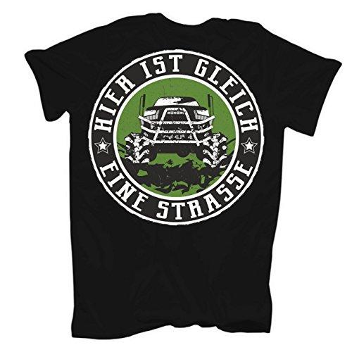 Männer und Herren T-Shirt 4x4 Offroad (mit Rückendruck) Schwarz