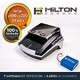 HILTON EUROPE HE-300SD Detector Billetes Falsos actualizable portátil con batería actualizado a los nuevos billetes 100 y 200 € con 7 sistemas de detección