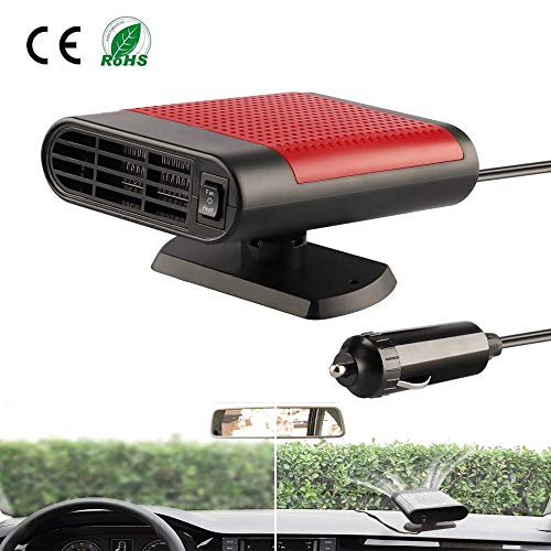 Acidea 12V Car Heater Portable Car Defogger Windshield Defroster 30 Seconds Fast Heating Fan 12 Volt 150W (Black Red)