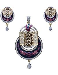 Antique Finish Oxidized Leaf Shape American Diamond Studed Meenakari Gold Plated Brass Pendant Set For Women
