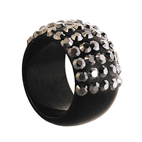 Plexiglas,Lucite schwarz Ring besetzt mit Kristall Steinen Made mit Swarovski Völlig analergic biobijoux,