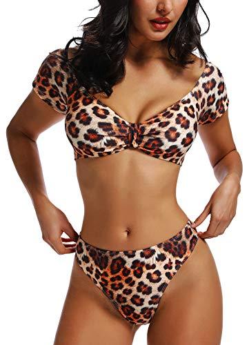 FITTOO Damen Push Up Hohe Taille Bauchweg Gepolsterter Bandeau Bikini-Set Leopard Muster M -