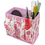 Egmy Fashion Makeup Cosmetic Baskets Storage Box Bag Square Foldable Stationary Container Case (Pink)