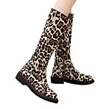 Frauen Leopard hohe Schlauchstiefel Stiefel Winterstiefel