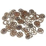Yovvin 100g Env 68pcs Assortis Style Antique rétro Steampunk Engrenages Charms Pendentif Horloge Montre Gear de roue pour travaux manuels DIY Bijoux Accessoires (H05)