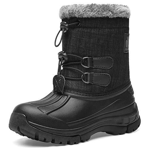 EAST LANDER Kleinkind Schneeschuhe Leichtgewichtig Wasserdicht Winter Outdoor-Schuhe, T2-schwarz Grau, Gr.- 38 EU/ Herstellergröße- 39