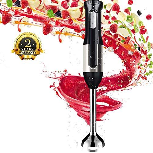 Sweet Alice Stabmixer 600W Stabil Edelstahl Pürierstab mit 2 Geschwindigkeitsstufen Inklusive Turbo-Funktion,BPA-frei,Abnehmbar für Spülmaschinenfeste