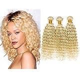 Best Hair Weave Blonde 3 Bundles - Mila 100% Human Hair Weft Curly Deep Wave Review