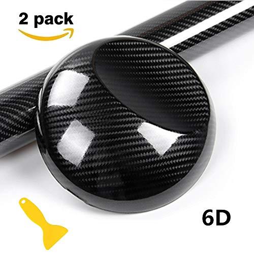Preisvergleich Produktbild Minleer 6D Carbon Folie (2 Stück),  6D Autofolie Carbon Vinyl selbstklebend,  flexibel Car Wrapping Folie Hochglanz Blasenfrei mit Luftkanälen (100 x 30 cm) Schwarz