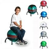 BASIT® Easy Gesundheitsstuhl Bürostuhl + Gymnastikball Kinderstuhl Sitzballstuhl Ballstuhl für Kinder, mit Bodengleitern für festen Stand, Farbe:bunt