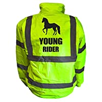 Kids Equine YOUNG RIDER Hi Viz Vis Bomber Jacket Childs Horse Riding Reflective Coat Road Safety Equestrian High Visibility