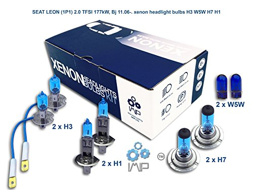 IMIP - SEAT LEON (1P1) 2.0 TFSI | Kit d'ampoules de phares au Xenon Super Blanc H3 W5W H7 H1