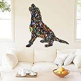 Rureng Blumenmuster Beagle Hund Wand Aufkleber Removable Vinyl Wandaufkleber Haustiere Hund Tiere Kunst Wandbild Für Wohnzimmer Vintage Home Decor