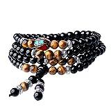 COAI® 108 Obsidian und Tigerauge Buddhistisches Wickelarmband Halskette für Damen/Herren