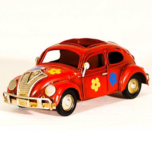 UniqueGift Rot Metall Replica Käfer Bug Auto Deko Figur & Bleistift Fall-Vintage VW Bug mit Blumen-Dose Metall Spielzeug Auto Figur-Retro Büro Ornament (Spielzeug-auto-fall)