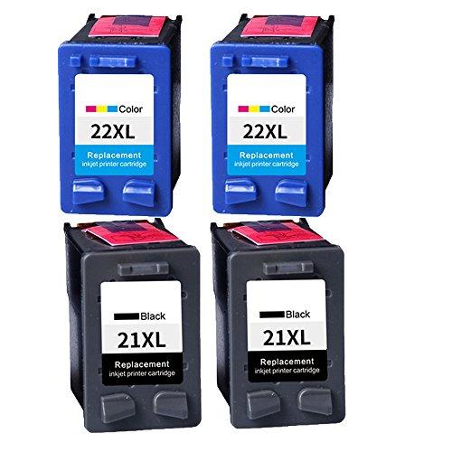 OYAT® 4x (2Schwarz , 2Farbig) Kompatible Tintenpatronen als Ersatz für HP 21...
