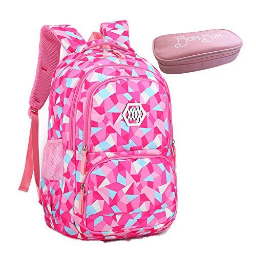 Bom Bom Rucksack Schultasche junge Mädchen Teen Kinder große Schule Rucksack (Rose Rot) -