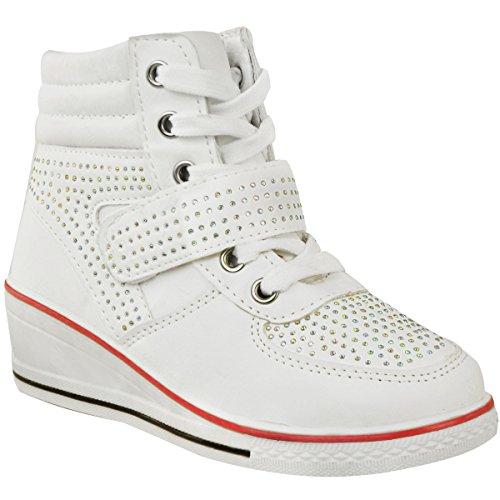 Mädchen Sneaker - hoher Schaft & Schnürung - glitzernde Ziersteine - Keilabsatz - Weiß Kunstleder - EUR 36 (Mädchen High-top Wedge Sneakers)