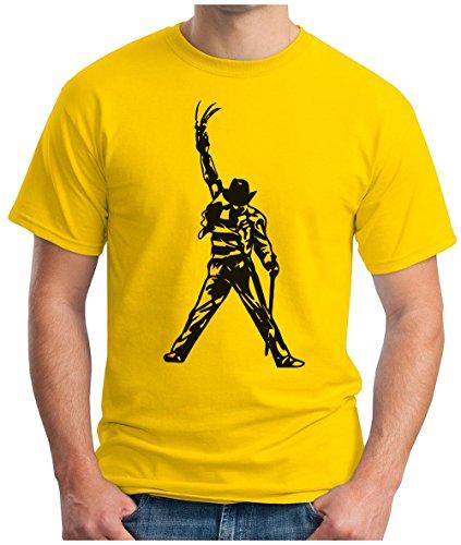 OM3 - FREDDY-JACKSON - T-Shirt KULT HORROR GRUSEL MOVIE FRED ZOMBIE AMERICA POP MUSIC PARODY GEEK, S - 5XL Gelb
