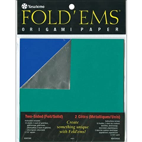 Fold 'ems Origami Double-Sided Foil/Solid Paper 5.875 18/Pk-Assorted by (Double Sided Foil Origami)